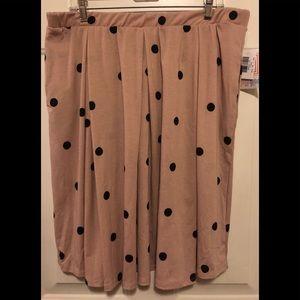 LuLaRoe Blush Black Polka Dot Madison Skirt 2XL